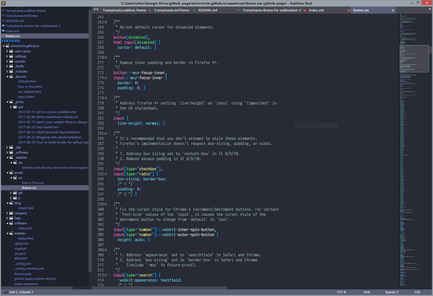 Transylvania Theme for Sublime Text 3