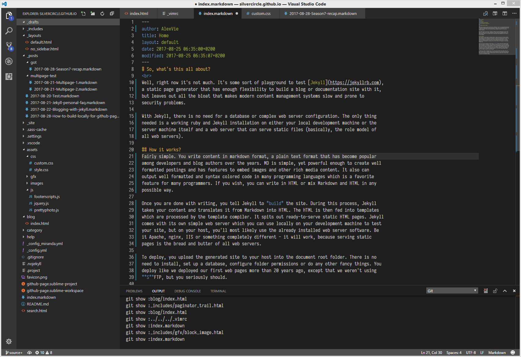 A typical workflow when using Jekyll. A simple text editor is enough.